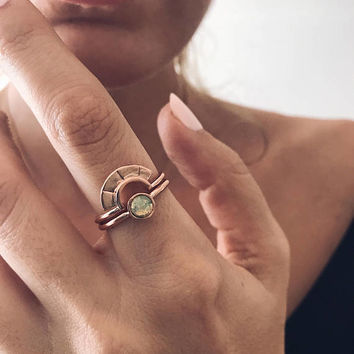 Opal ring,rose gold ring,stacking rings,rings set,arch ring,dainty ring,bohoring,midi ring,gift for her,ethiopian opal ring,rose gold filled