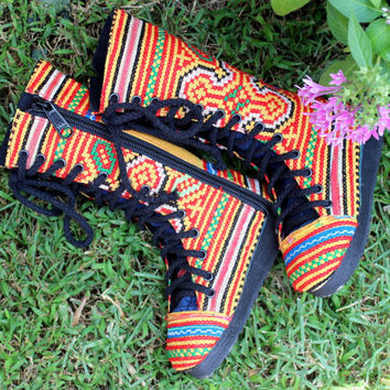 Vegan Little Girls Combat Boots In Yellow Hmong Embroidery