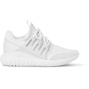 Adidas Originals - Tubular Radial Leather and Suede-Trimmed Neoprene Sneakers