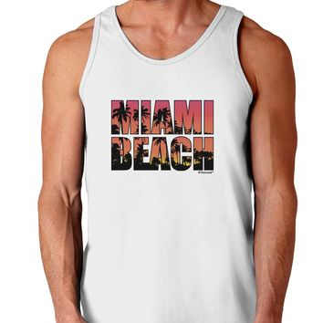 Miami Beach - Sunset Palm Trees Loose Tank Top  by TooLoud