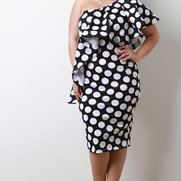 Polka Dot One Shoulder Flutter Tier Midi Dress