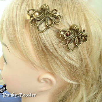 Small Octopus Barrettes Steampunk Gears Pearls Gold tone Hair Jewelry Pair of TWO hair clips  #PR67