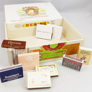 Bering Cigar Box with Souvenir Matchbooks, 9 Matchbooks and One Vintage Cigar Box, Tobacciana