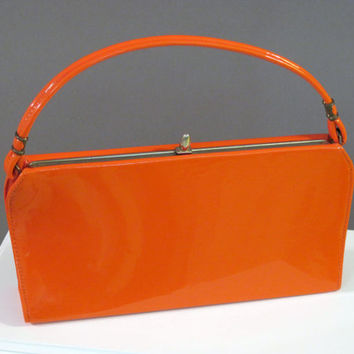 Vintage 60s Purse Classic Orange Faux Patent Leather Mad Men Bag