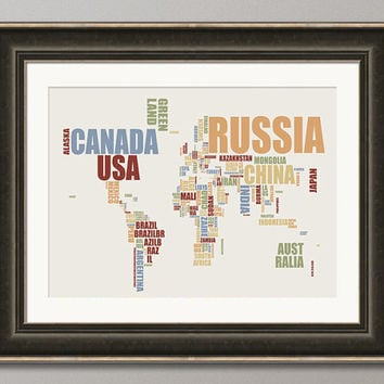 Typographic Text Map of the World Map Art Print on Etsy