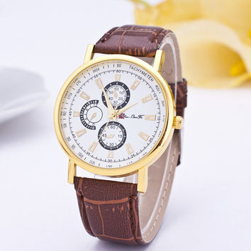 3 Dials Leather Watch