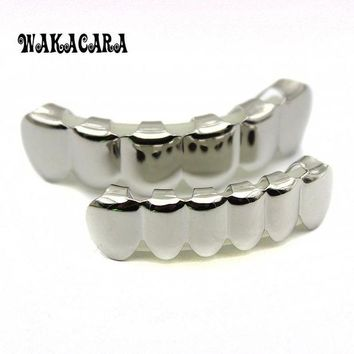 ac DCCKO2Q 6 Tooth FREE SHIPPING Silver Custom Top Bottom GRILLZ Bling Mouth Teeth Caps Hip Hop Grills
