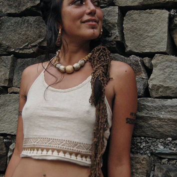 Top Bra Native American Made of Organic Hemp cotton Cream color Tribal Natural
