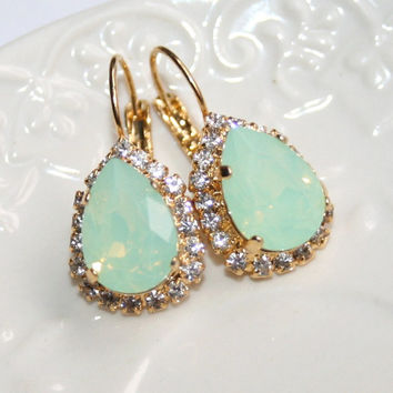 Mint Opal Seafoam Teardrop Swarovski Gold Earrings, Rhinestone Pear shape pale Green Crystal leverback Rhinestone Earrings, Wedding Jewelry