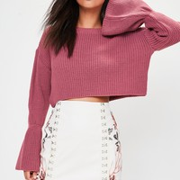 Missguided - Pink Flared Sleeve Knitted Cropped Jumper