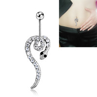 New Charming Dangle Crystal Navel Belly Ring Bling Barbell Button Ring Piercing Body Jewelry = 4804904580