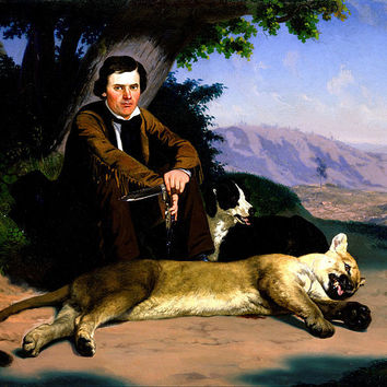 Canvas Art Prints Stretched Framed Giclee World Famous Artist Oil Painting Charles Christian Nahl Peter Quivey Mountain Lion
