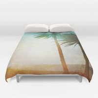 Lone Palm Duvet Cover by Kate