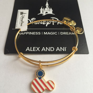 Disney Parks Mickey Icon Flag Bangle by Alex and Ani Gold Finish New Tags