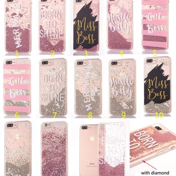 Flowing Liquid Phone Case for iPhone 6 6s Plus/7 7 Plus / 8 8 Plus Fashion Sparkle Diamond Glitter bead Stars Clear TPU Covers