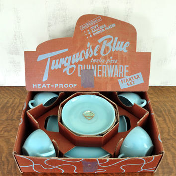 Fire King Turquoise Blue Dinnerware Set, Delphite Blue Plates Teacups Saucers, Original Box with Foil Labels, Blue Milk Glass FireKing