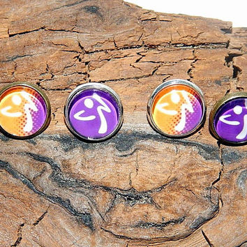 Zumba inspired logo earrings, Zumba love, Zumba Dancing, Zumba emblem, Zumba patch, Zumba Fitness jewelry, zumba earrings christmas gift