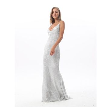 3067bbe89051 Sexy Stretch Silver Sequin Maxi Dress Hollow Out Floor Length Su