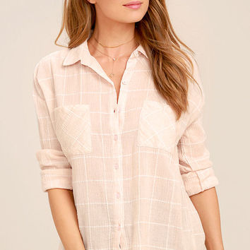 Playa Del Carmen Blush Pink Grid Print Button-Up Top