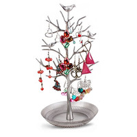 Dazone Birds Tree Jewelry Stand Display Earring Necklace Holder Organizer Rack Tower (Antique Silver)
