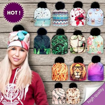 ESBU3C 2016 New 3D Print Hats for Women Autumn and Winter Cap Multi Colors Warm Hat Fashion Lady Hats Ball Pom Skully Beanies PY212