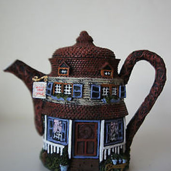 Vintage Hand Painted Hometown Teapot Cottages Quill for Sale Collectors House