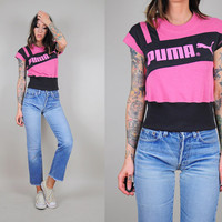vtg 80's PUMA pink & black CROPPED TOP T-shirt Graphic Novelty 90's tee sport Workout