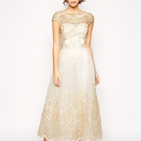 Chi Chi London Premium Metallic Lace Prom Dress in Longer Length