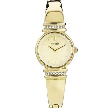 Seiko Gold Plated Bracelet Watch With Swarovski Crystals
