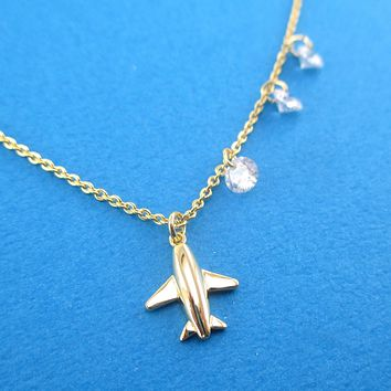 Travel Inspired Airplane Shaped Rhinestone Charm Necklace in Gold