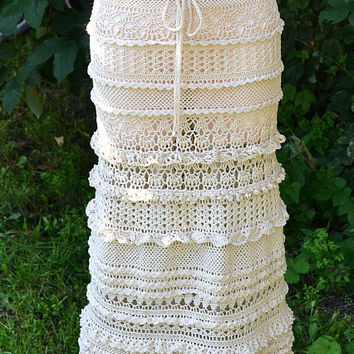 Crocheted long skirt , made to order , crochet handmade , chic , elegant , spring , summer , beach,