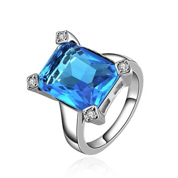 Favorite Blue Square Zirconia White Gold Plated Ring