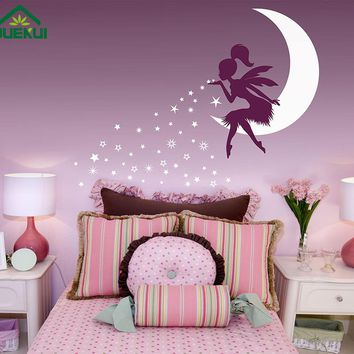 Large Size Vinyl Wall stickers Fairy Moon Stickers for Kids Rooms Pixie Dust Stars Vinyl Decals Baby Girl Nursery Decor JA939
