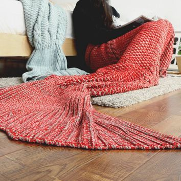 Mermaid blanket child human tail air conditioning blanket knit nap blanket carpet sofa blanket Fish tail red