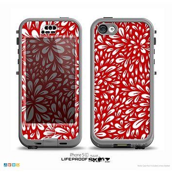 The Bright Red and White Floral Sprout Skin for the iPhone 5c nüüd LifeProof Case