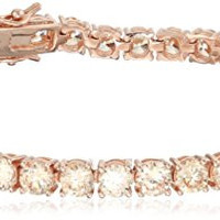 Rose Gold Plated Sterling Silver Round Champagne Cubic Zirconia 4mm Tennis Bracelet, 7.25""