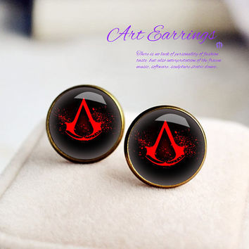 Assassin's Creed earrings,bronze earring,silvery earring,studs earring,handmade earrings