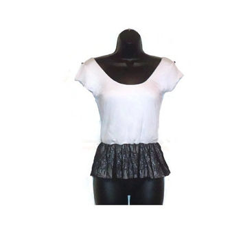 Peplum Top White Off shoulder Tee Shirt  Fashion Top with Black Lace Womens Clothing Large