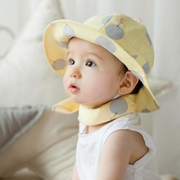 Newborn Baby Caps Outdoor Baby Girl Beach Bucket Hat Sweet Children Sun Cap Polka Dot 2018 Newborn Baby Caps