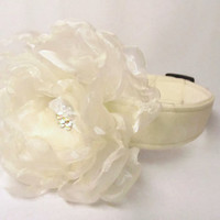 Wedding Dog Collar and Flower  - CUSTOM Wedding Sparkle Organza Flower and IVORY Collar
