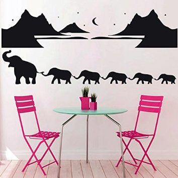 Wall Decal Elephant Hill Month Landscape Star Decal Vinyl Sticker Wall Decor Bedroom Home Interior Design Art Murals MN314