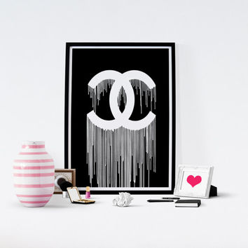 Printable Coco Chanel, Chanel Print, Fashion print,Drips, Coco Chanel Poster,Fashion, Chanel Logo, Chanel Logotype, Wall Art, Glam