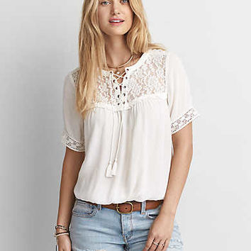 AEO Lace-Up Shirt , Cream