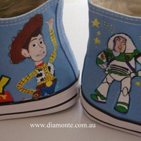 Toy Story Hand Painted On Light Blue Converse Sneakers Shoes CUSTOM DESIGNED 401