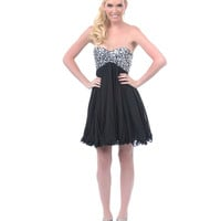 Black Sequin Beaded Strapless Short Homecoming Dress