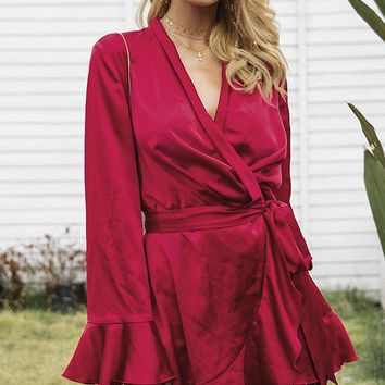 Always A Romantic Satin Long Flare Sleeve Cross Wrap V Neck Ruffle Mini Dress - 4 Colors Available