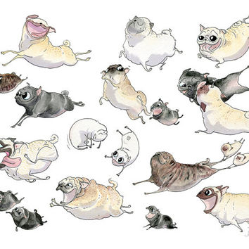 Pug Art Print - Pugs on the Run, Pug Heaven Poster, Cute Pug Illustration, Pug Drawing, Pug Painting, Pug Wall Art, Pug Drawing by InkPug!