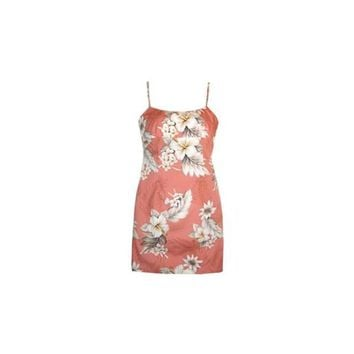 Petal Pink Short Hawaiian Skinny Strap Floral Dress