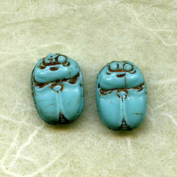 Two Vintage Turquoise Glass Painted Scarab by picklevalentine