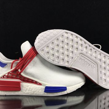 [ Free  Shipping ]Adidas Human  Race  White / Blue / Red Running Shoes